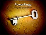 PowerPoint Template - Steel key resting on jigsaw puzzle pattern