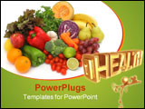 PowerPoint Template - colorful fresh group of fruits and vegetables for a balanced diet