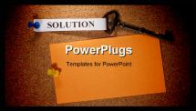 PowerPoint Template - Key with a solution tag pinned on a brown bulletin. Add your text to the background.