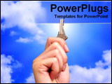 PowerPoint Template - hand holding key to sky