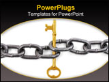 PowerPoint Template - chain and golden key with white background concept of successful teamwork