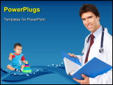 PowerPoint Template - Smiling medical doctor with stethoscope. A lot of happy patients on the sack ground