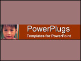 PowerPoint Template - Tan & red direct eye contact close-up of young Asi