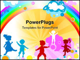 PowerPoint Template - silhouettes of kids playing; silhouette style illustration