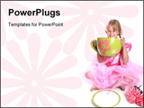 PowerPoint Template - Cute little girl having a tea party.