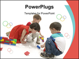 PowerPoint Template - Little Boys And Girl Are Play The Game