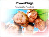 PowerPoint Template - Happy sisters with brothers forming a huddle.