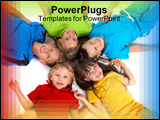PowerPoint Template - Five children lie on the floor with their heads together forming a flower pattern as they smile.