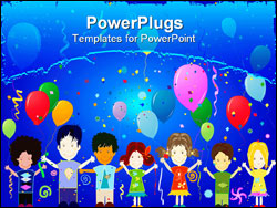 PowerPoint Template - happy kids; illustration - children playing with balloons