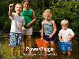 PowerPoint Template - Kids and family playing in and around a stream in the woods