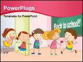 PowerPoint Template - illustration of a kids entering in classroom