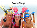 PowerPoint Template - Three smiling children posing on a beach wearing snorkeling equipment.