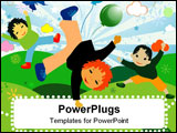 PowerPoint Template - children playing; joyful design for kids with space for your text