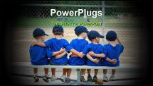 PowerPoint Template - five little boys put their arms around each other while waiting for their baseball game to start