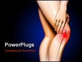 PowerPoint Template - ain originating in the knee area. Hand touching the upper leg just above the knee. Digital illustra