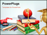 PowerPoint Template - diploma and red apple on a pile of books