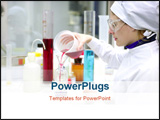 PowerPoint Template - Chemical research laboratory woman working glass cylinder vase