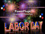 PowerPoint Template - Labor Day card invitation template or background with fireworks