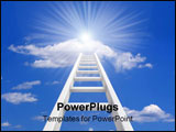PowerPoint Template - White ladder leading to a clouds - rendered in 3d