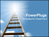 PowerPoint Template - Wooden ladder extending to heaven or a new opportunity