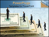 PowerPoint Template - US Dollars in ladder over white isolated