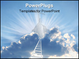 PowerPoint Template - Conceptual image - 3d ladder in the sky