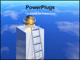 PowerPoint Template - silver ladder to success 3d image