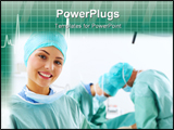 PowerPoint Template - A portrait of a medical assistant while an operation takes place in the background.