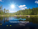 PowerPoint Template - Forest blue lake. Reflection. Clouds and sky