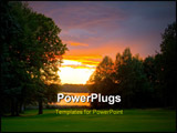 PowerPoint Template - unset over a lakeside golf course. Excellent tone nuances achieved through HDR processing of three