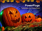 PowerPoint Template - Halloween Theme: Jack-o-Lanterns in hay with spider webs in the background