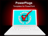 PowerPoint Template - A white laptop displays the word Survey and a check box and mark