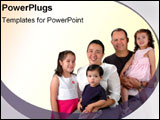 PowerPoint Template - A Latin family smiles for their family picture.