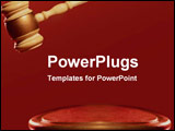 PowerPoint Template - Strong red gavel making a decision