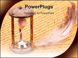 PowerPoint Template - Hourglass with a feather and parchments