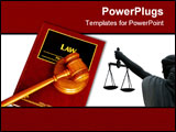 PowerPoint Template - judges court gavel on a law book from above