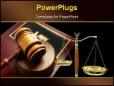 PowerPoint Template - court gavel on top of a law book