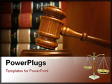 PowerPoint Template - Judges gavel and law books stacked behind