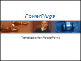 PowerPoint Template - Close up of scale of justice, judge, and gavel over white background