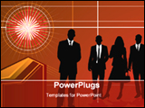 PowerPoint Template - a group of business people with red background