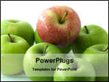 PowerPoint Template - red apple among green apples