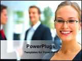 PowerPoint Template - business lady in working place