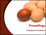 PowerPoint Template - red egg in front of yellow eggs