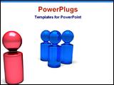 PowerPoint Template - red pawns leads other blue pawns