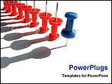 PowerPoint Template - a blue thumbtacks leading other reds