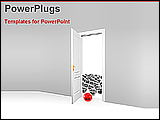 PowerPoint Template - red ball open a door with other grey balls