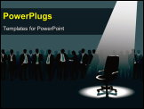 PowerPoint Template - Empty chair and crowd of people with aspirations.