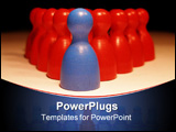 PowerPoint Template - one blue figure leads pyramid of red guys