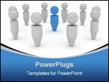 PowerPoint Template - A group of gray figures around a blue one.