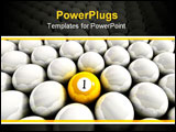 PowerPoint Template - Yellow one ball surrounded by white billiard balls